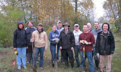Volunteers who planted 154 native trees and shrubs along the Mill Race in April of 2015.