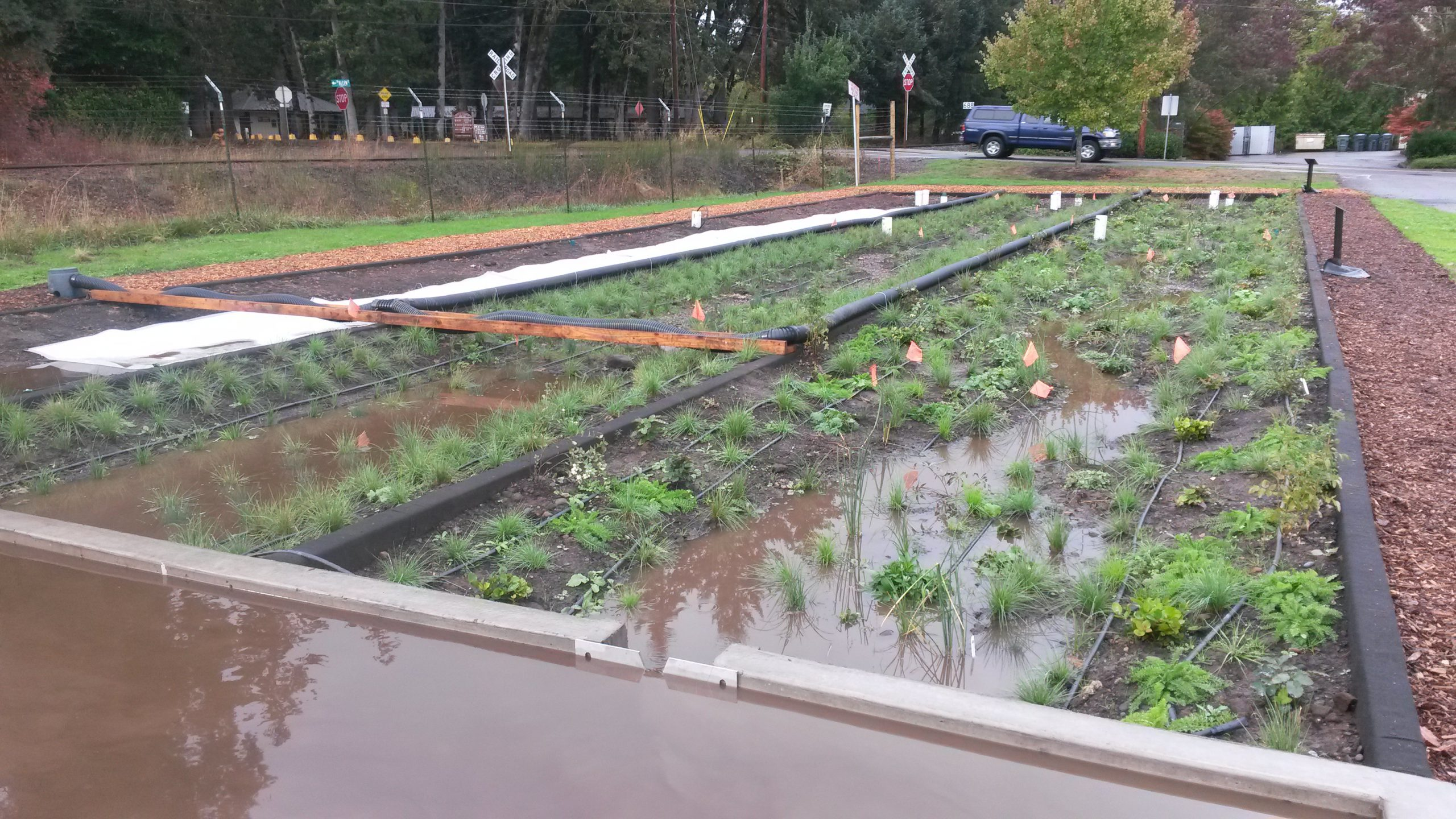 A collaborative project between OSU and Benton County, the construction of the stormwater research facility was completed in early October of 2014.