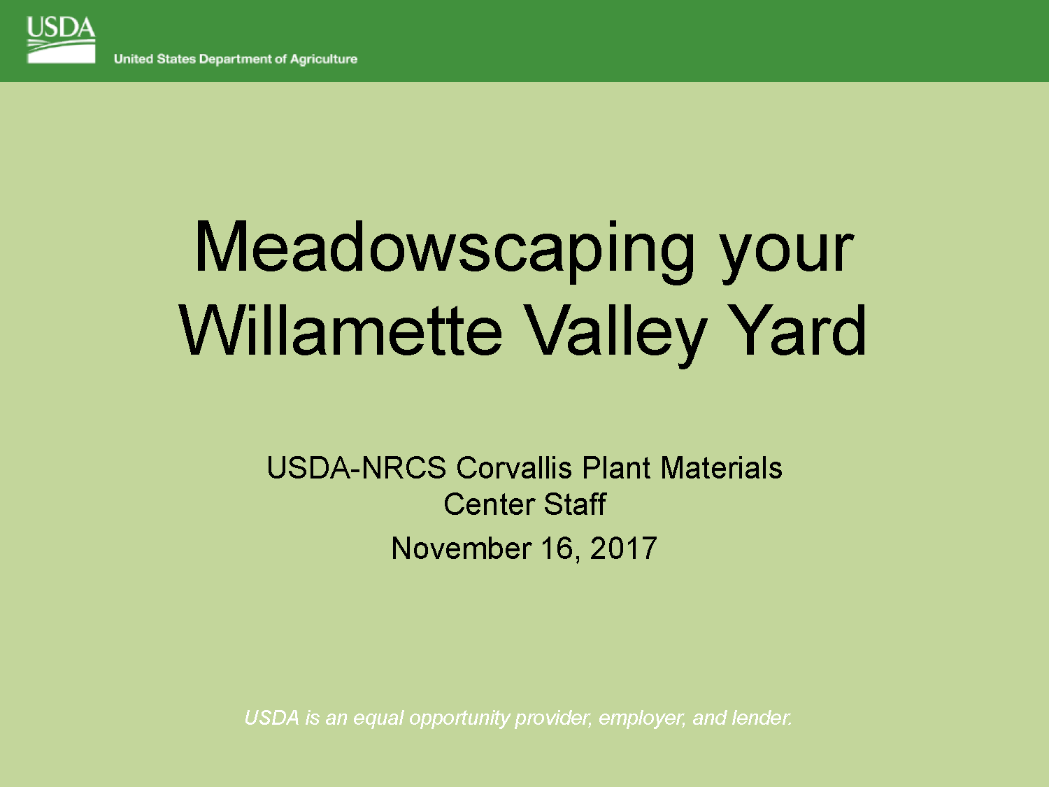 Meadowscaping Slideshow title screen