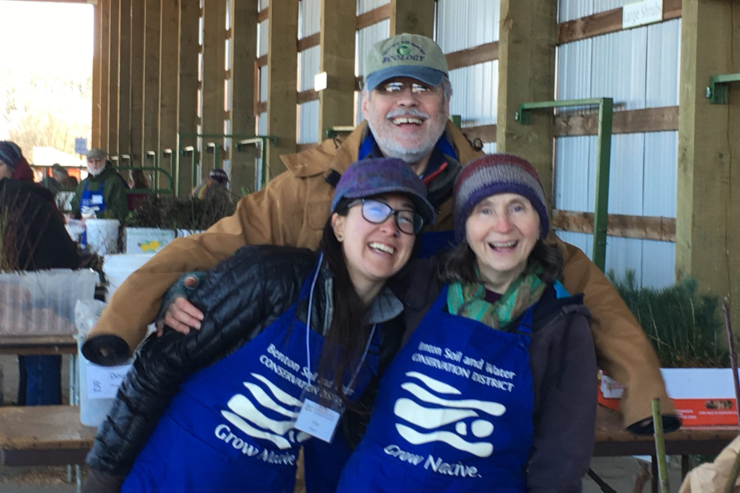 Nick Cavagnaro with Teresa Matteson (BSWCD staff) and Eliza Mason (BSWCD board) at the 2019 Native Plant Sale. Photo by Kathleen Dennis