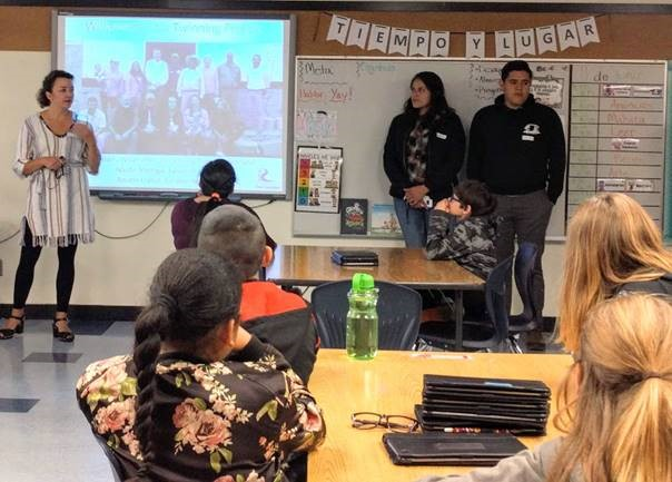 Tara Davis, at left, describes the Twinning Partnership to 5th grade students at Lincoln Elementary.