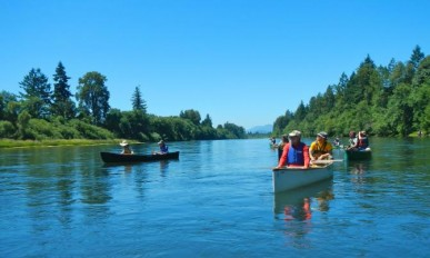 canoes on the Willamette