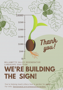 a poster with oak leaves and a sprout next to vertical measuring stick from $0 to $3000 showing we raised $3000