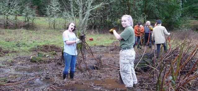 OSU students remove blackberry from a wetland.