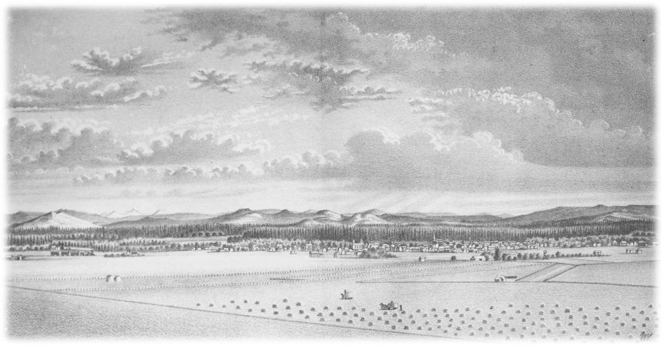 Drawing of Corvallis from Cemetery Hill circa 1885 by JT Picket, courtesy Benton Co Historical Museum
