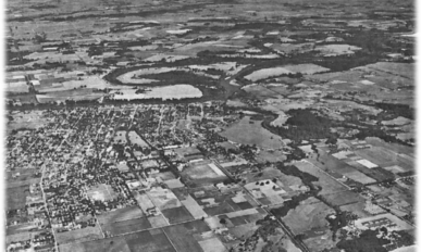 Aerial view of the Willamette River at Corvallis looking east-southeast in 1939.