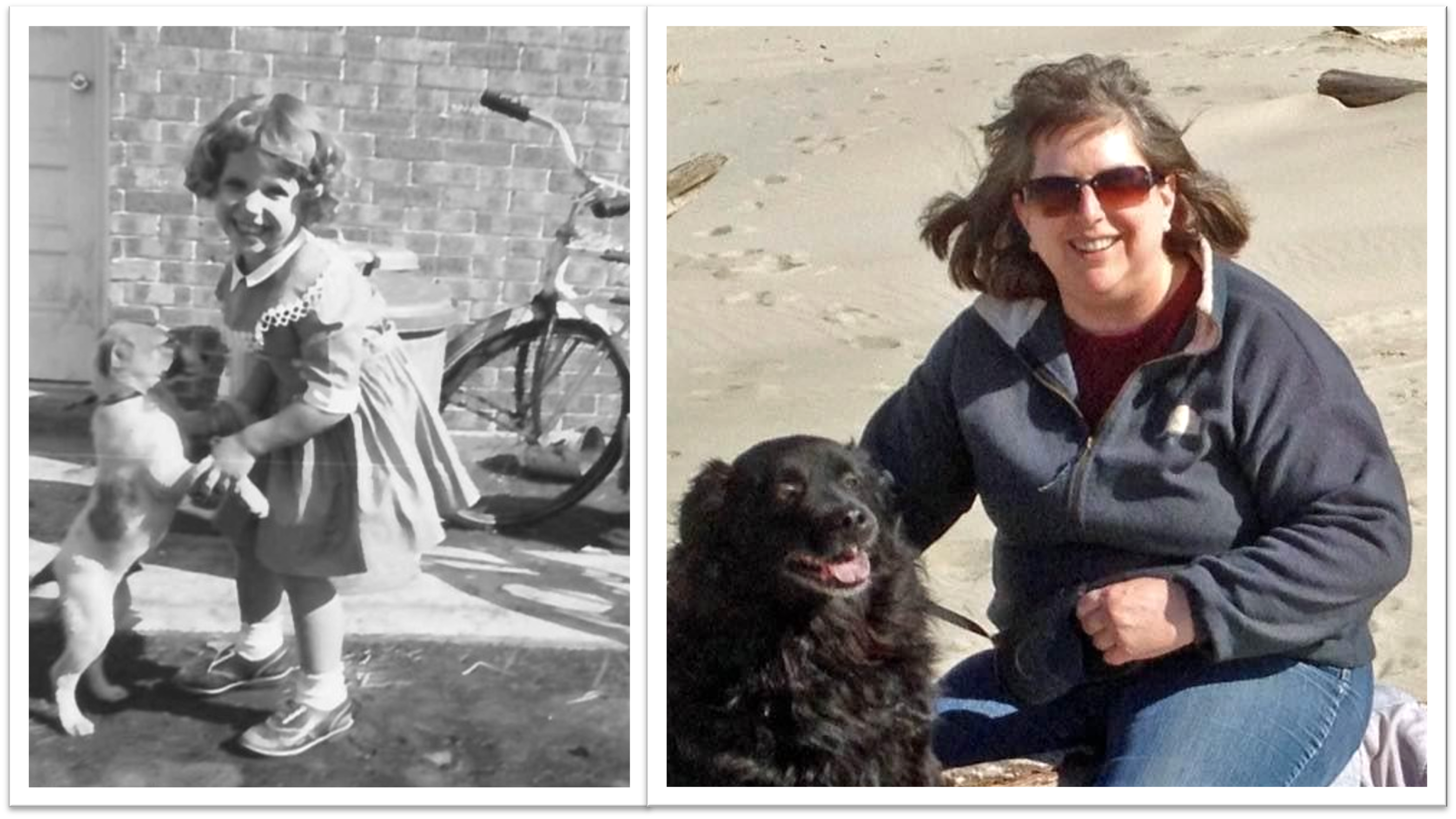 Linda as a toddler and adult with dogs
