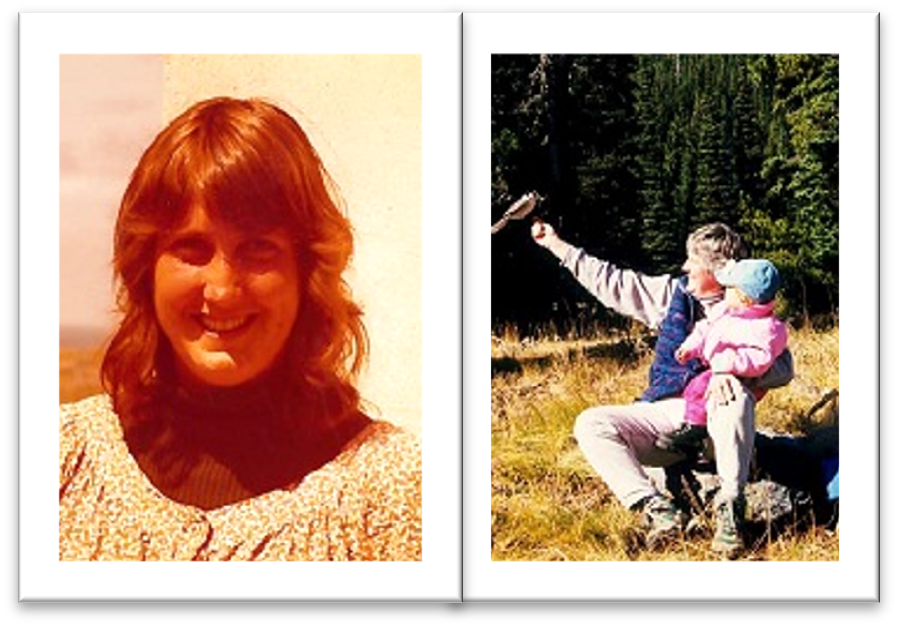 Donna in the 80s and with daughter and bird