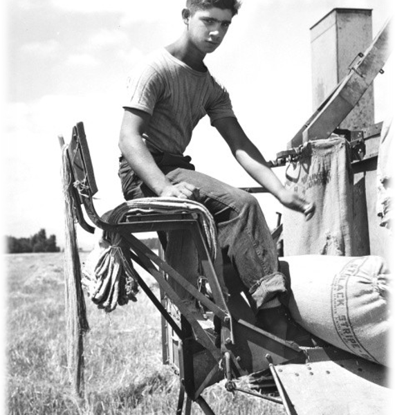 A young teen sitting on some sort of farm machine.