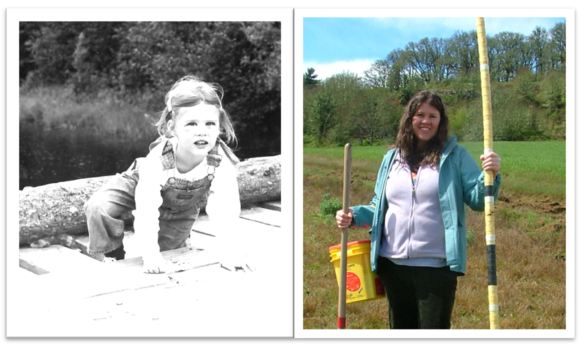 Heath as a child wearing overalls climbing and as an adult taking soil samples