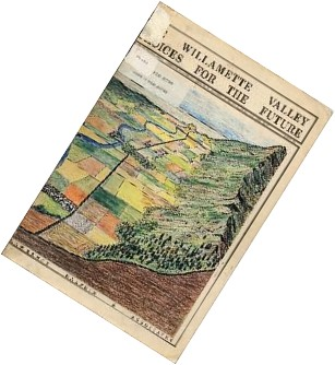 a digest-sized newspaper with an illustration of the Willamette Valley in color.