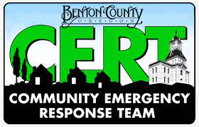 The CERT logo for Benton County with green letters and the iconic Benton County Courthouse