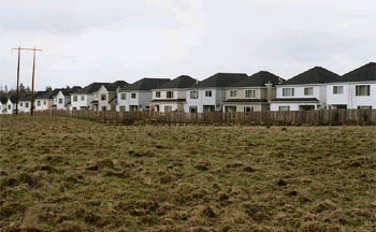 a housing development with houses very close together.